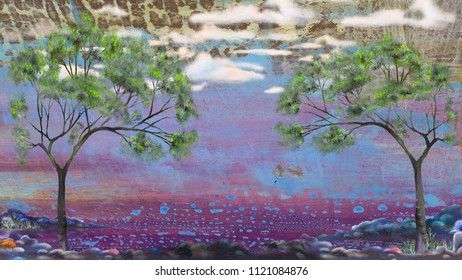 Two trees on wet abstract background