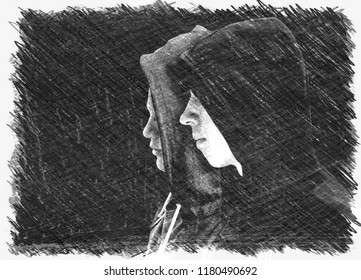 Two troubled teenage boys with black hoodie standing next to each other in profile isolated on black background. Black and white charcoal drawing.