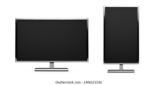 Two TVs, monitors isolated on white background. horizontal and vertical screens. 3d render illustration