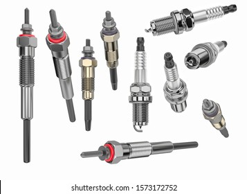 Two types of auto parts glow plug and spark plug on a white background. Spare part for the car engine. 3d rendering