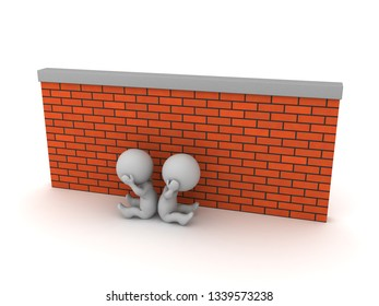 Two upset 3D characters are sitting down next to a brick wall. Isolated on white background.