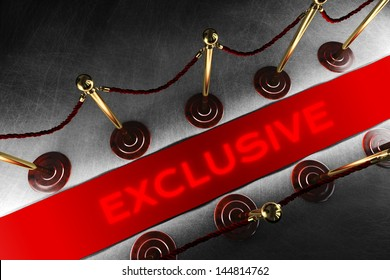 Zwei Seilsperrlinien mit Samt und exklusiver roter Teppich