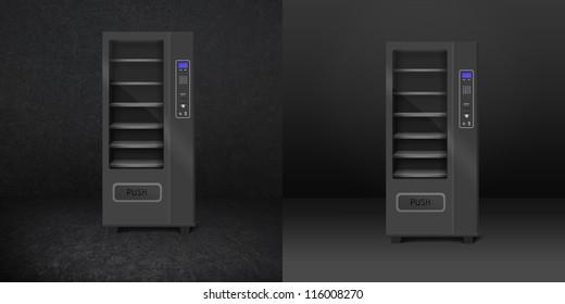 Two vending snack is a machine in room. Dark room