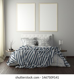 Two vertical poster frame mockups above the bed on white wall in bedroom. Soft morning light through the curtain. 3d illustration