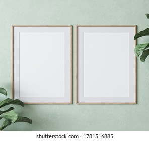 two vertical wooden frame mock up on green wall background with plants, 3d render, 3d illustration