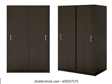 Two views of dark brown wardrobe with closed sliding doors isolated on white background. 3d illustration