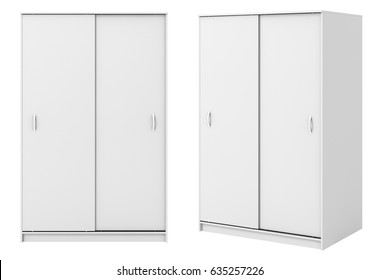 Two views of white wardrobe with closed sliding doors isolated on white background. 3d illustration