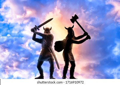 Two Viking warriors with sword and double-sided axe against colorful cloudy sky, Odin, Valhalla and Ragnarok themes, Old Norse myths, painting style illustration