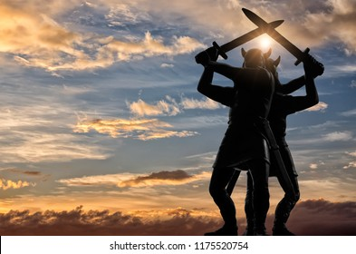 Two Vikings, standing back to back and swinging their swords, bright sun, blue sky with yellow-white clouds in the background, Old Norse epic, Valhalla theme