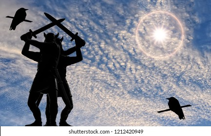 Two Vikings standing back to back with swords raised, bright sun to the right, blue sky with cirrus clouds, silhouettes of two ravens, epic, Old Norse, Valhalla, mythology