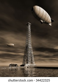 Two Vintage blimps circle the town as the man in hat sits in his old car and watches by the water. Surreal Illustration