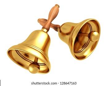 two vintage retro school bells on white