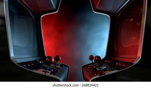 Two vintage unbranded arcade games with a joysticks and buttons and a blank screen opposing each other lit by contrasting colour schemes on a dark ominous background with copy space