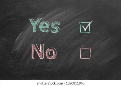 Zwei Wahlkästchen mit Buchstaben Ja und Nein an der Tafel. Markieren Sie bei Ja. Ihr Wunschkonzept.