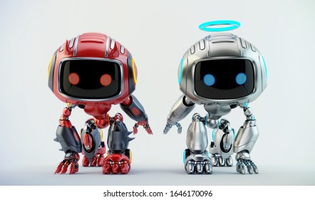 Two warring little robotic toys, 3d rendering with silver angel and red devil bots in squat epic pose