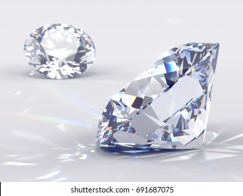 Two water-clear round brilliant cut diamonds laying on light blue background, side view, front view, close-up with caustics rays. 3D rendering illustration