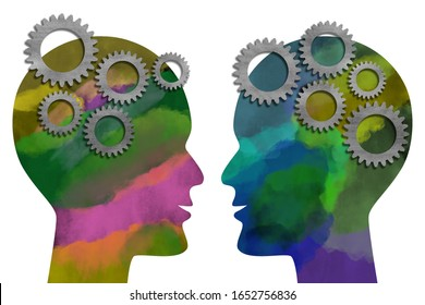 Two watercolor painted heads facing each other with metal gears. Isolated on white background. Think and communication concept. Digital generated illustration.