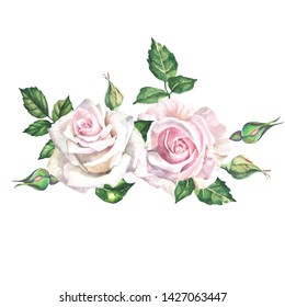 two watercolor roses with leaves.