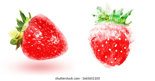 Two watercolor strawberries on white background