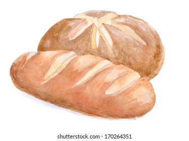 two watercolour bread, brown and white. Painting food