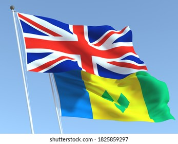 Two waving state flags of United Kingdom and Saint Vincent and Grenadines on the blue sky. High - quality business background. 3d illustration