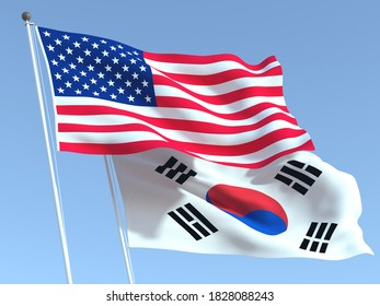 Two waving state flags of United States and South Korea on the blue sky. High - quality business background. 3d illustration