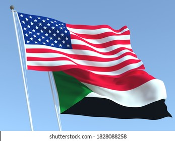 Two waving state flags of United States and Sudan on the blue sky. High - quality business background. 3d illustration