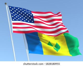 Two waving state flags of United States and Saint Vincent and Grenadines on the blue sky. High - quality business background. 3d illustration