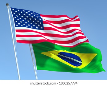 Two waving state flags of United States and Brazil on the blue sky. High - quality business background. 3d illustration