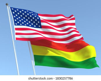 Two waving state flags of United States and Bolivia on the blue sky. High - quality business background. 3d illustration