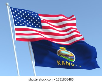 Two waving state flags of United States and Kansas state on the blue sky. High - quality business background. 3d illustration