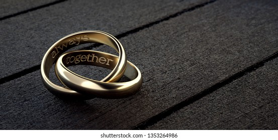 Two wedding rings intertwined with phrase always together in English. 3D Rendering.