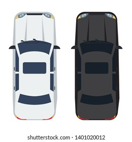 Two white and black Sedan Car with top view. Solid and flat color style design.