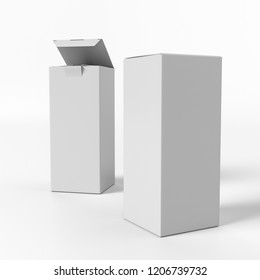 Two White Blank Box Products. 3D render