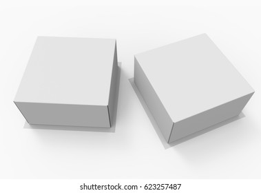 Two White Carton Boxes For Cake Or Pie. Top View 3D Render