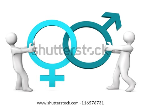 Two White Cartoon Characters Symbols Sexes Stock Illustration