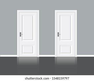 Two white closed doors. Interior Design Element