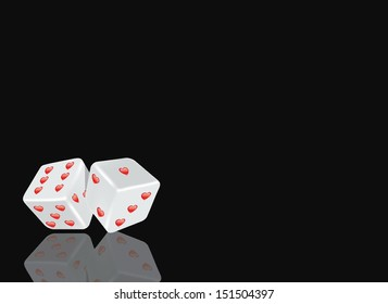 Two white dice with hearts on a black background