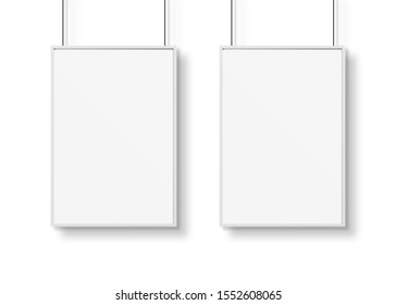 Two white frames isolated on wall mockup 3D rendering