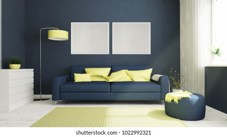 two white frames on a living room 3d rendering
