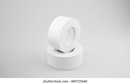 Two white insulation tape rolls lying on white surface. Concept of renovation. 3d rendering, mock up