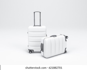 Two White Luggage mockup on light background, Suitcase, baggage, 3d rendering