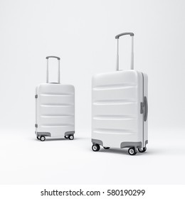 Two White Luggage mockup, Suitcase, baggage, 3d rendering