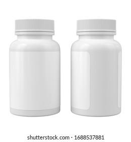 Two white medicine bottles mockup. Blank label vitamin template. Isolated on white. Pharmacy jar. 3d render
