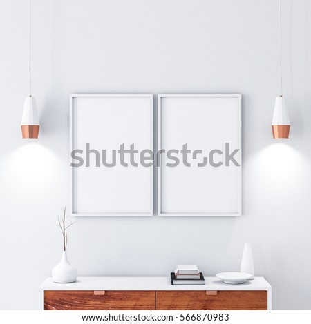 Two White Poster Frames Hanging On Stock Illustration 566870983 ...
