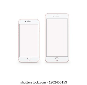 Two white smartphone front view
