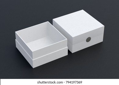 Two white square boxes opened and closed on black background. 3d illustration