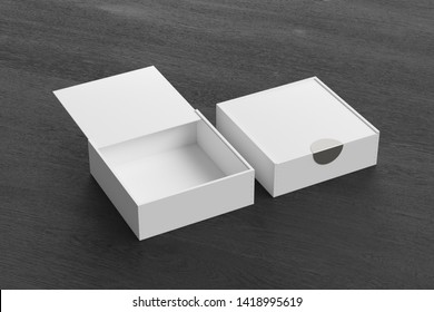 Two white square boxes with sliding lid on black wooden background. Empty opened and closed box. 3d illustration