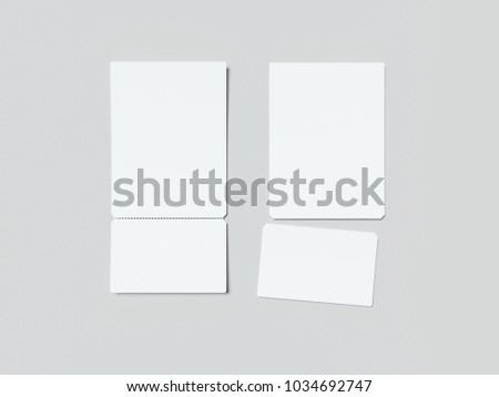 two white tearoff tickets isolated on stock illustration 1034692747