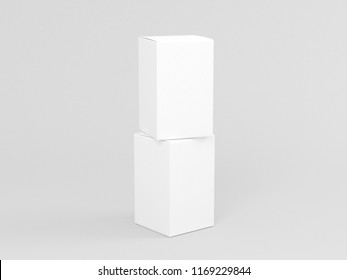 Two White textured boxes mockup isolated in gray studio, 3d rendering